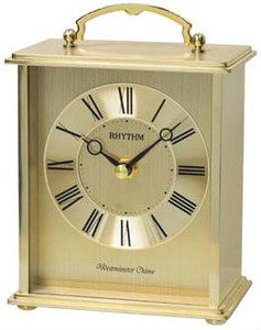 Rhythm Westminster Chime Strike Gold Finish Metal Mantel Clock CRH254NR18