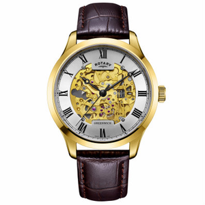 Rotary Gents Gold Plated Skeleton Mechanical Watch GS02941/03