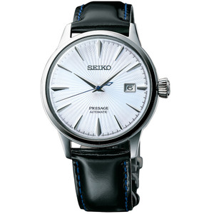 Seiko Presage Cocktail Automatic Blue Dial Leather Strap Watch SRPB43J1