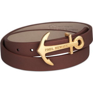 Paul Hewitt North Bound Gold Anchor Stainless Steel And Brown Leather Bracelet PH-WB-G-1M