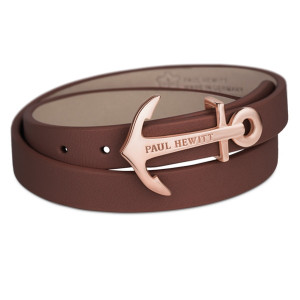Paul Hewitt North Bound Rose Gold Anchor Stainless Steel And Brown Leather Bracelet PH-WB-R-1M