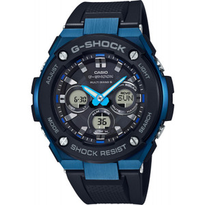 G-Shock Steel Solar Radio Controlled Black Resin Strap Blue Bezel Watch GST-W300G-1A2ER