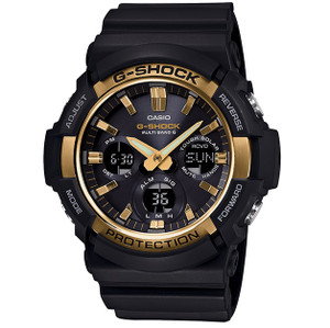 G-Shock Radio-Controlled Solar Powered Gold Bezel Watch GAW-100G-1AER