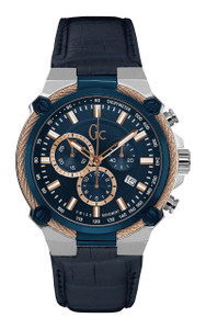 Gc Men's Cableforce Chronograph Blue Leather Watch Y24001G7