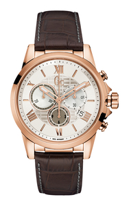 Gc Men's Esquire Rose Gold And Brown Chronograph Watch Y08006G1