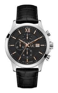 Gc Men's Executive Classic Black Leather Watch Y27001G2