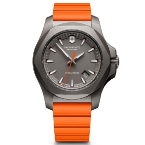 Victorinox Swiss Army I.N.O.X. Grey Dial Watch with Orange Rubber Strap 241758
