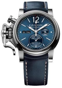 Graham Men's ChronoFighter Vintage Blue Leather Strap Watch 2CVAS.U01A.L129S