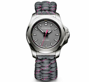 Victorinox Swiss Army I.N.O.X V Grey Dial Grey with Pink Stitching Paracord Bracelet Watch 241771