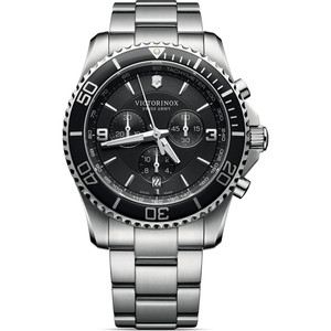 Victorinox Swiss Army Maverick Chronograph Black Dial Silver Bracelet Watch 241695