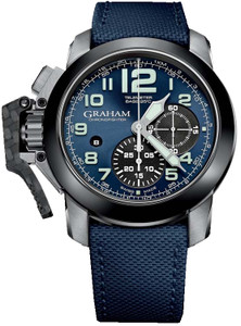 Graham Men's ChronoFighter Steel Oversize Blue Strap Watch 2CCAC.U01A.T12S