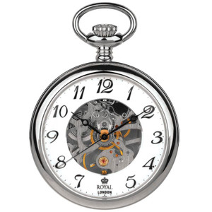 Royal London Skeleton Mechanical Silver Pocket Watch 90002-01