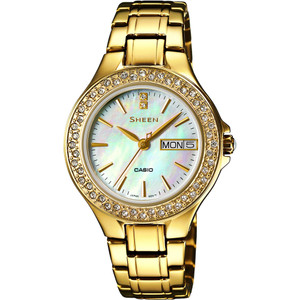 Casio Ladies Sheen Mother Of Pearl Dial Swarovski Crystals Watch SHE-4800G-7AUER