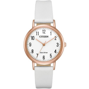 Citizen Ladies White Dial Leather Strap Watch EM0573-02A