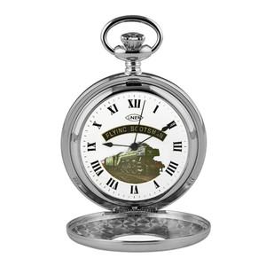 Woodford Flying Scotsman Half Hunter Chrome Pocket Watch HT103