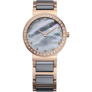 Bering Ceramic Ladies Grey Mother Of Pearl Dial Two Tone Strap Watch 10729-769
