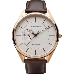 Bering Men's Automatic White Dial Leather Strap Watch 16243-564