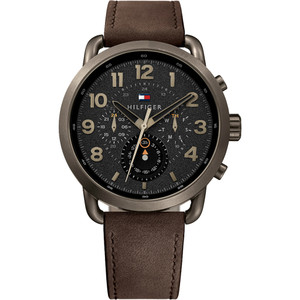 Tommy Hilfiger Men's Briggs Black Dial Leather Strap Watch 1791425