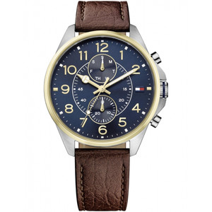 Tommy Hilfiger Men's Dean Navy Dial Leather Strap Watch 1791275