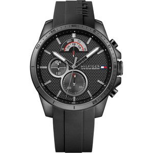 Tommy Hilfiger Men's Decker Black Dial Silicone Strap Watch 1791352