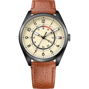 Tommy Hilfiger Men's Dylan Parchment Dial Leather Strap Watch 1791372
