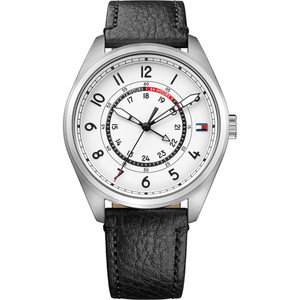 Tommy Hilfiger Men's Dylan White Dial Leather Strap Watch 1791373
