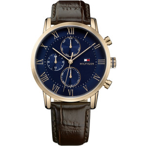 Tommy Hilfiger Men's Kane Blue Dial Leather Strap Watch 1791399