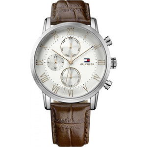 Tommy Hilfiger Men's Kane Silver & White Dial Leather Strap Watch 1791400