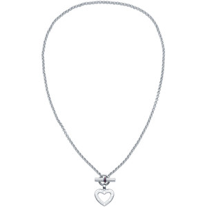 Tommy Hilfiger Classic Signature Silver Enamel Heart Toggle Necklace 2700277