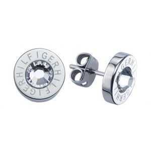Tommy Hilfiger Holiday Trend Swarovski Crystal Silver TH Logo Stud Earrings 2700259