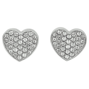 Tommy Hilfiger Fine Core Swarovski Crystals Silver Heart Pave Stud Earrings 2700654