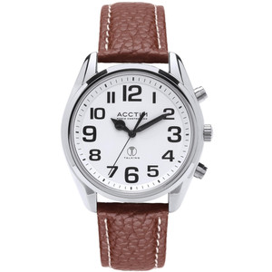 Acctim Talking Peregrine Men's Radio Controlled Scotch Grain Brown Strap Watch 60556