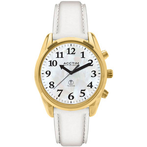Acctim Talking Robin Women's Radio Controlled White Leather Strap Watch 60542
