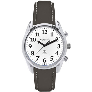 Acctim Talking Robin Women's Radio Controlled Black Leather Strap Watch 60543