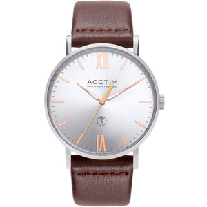 Acctim Sterling Men's Radio Controlled Silver Dial Brown Leather Strap Watch 60416