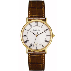 Michel Herbelin Men's Sonates Gold Plated Brown Leather Strap Watch 12443/P08GO
