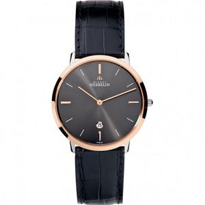 Michel Herbelin Men's Ikone Grande Black Dial Leather Strap Watch 19515/TR22