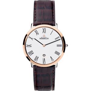 Michel Herbelin Men's Ikone Grande White Dial Leather Strap Watch 19515/TR01MA