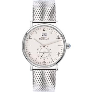 Michel Herbelin Men's Montmartre White Dial Stainless-Steel Mesh Bracelet Watch 18247/11B