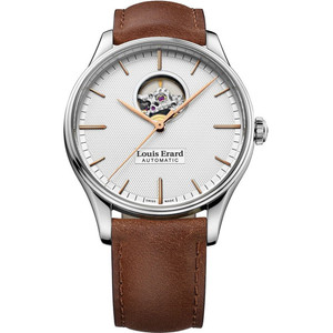 Louis Erard Men's Heritage Automatic Silver Dial Leather Strap Watch 60287AA51