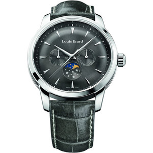 Louis Erard Men's Heritage Chronograph Quartz Moonphase Black Dial Watch 14910AA03