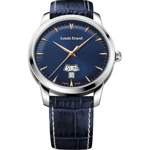 Louis Erard Men's Heritage Quartz Day Date Blue Dial Leather Strap Watch 15920AA15