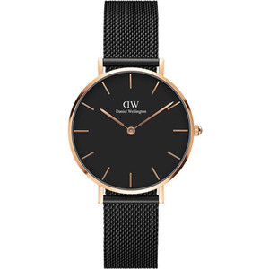 Daniel Wellington Women's Classic Petite Ashfield Black Dial Milanese Mesh Bracelet Watch DW00100201