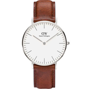 Daniel Wellington Women's Classic ST Mawes White Dial Leather Strap Watch DW00100052