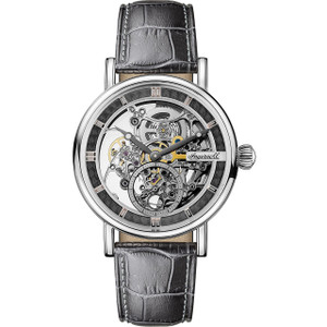Ingersoll Men's The Herald Automatic Silver Skeleton Dial Grey Leather Strap Watch I00402
