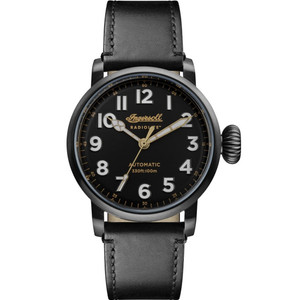 Ingersoll Men's The Linden Radiolite Automatic Black Dial Leather Strap Watch I04805