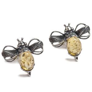 Henryka Bumble Bee Yellow Amber And Silver Stud Earrings 1/6005/100/Y-BU
