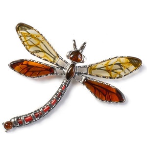 Henryka Exotic Dragonfly Yellow & Cognac Amber And Silver Pendant With Chain PH802/YC-AAG