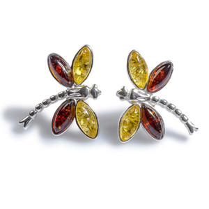 Henryka Dragonfly Cognac & Yellow Amber And Silver Stud Earrings 6E323/YC-COS