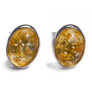 Henryka Form Oval Silver & Yellow Amber Small Stud Earrings 2/4552/100/Y-BU